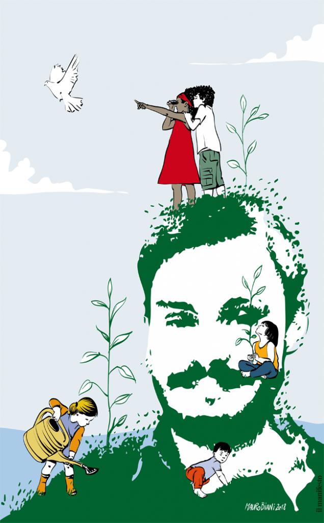 Il poster del manifesto e di Mauro Biani per Giulio Regeni, gennaio 2018