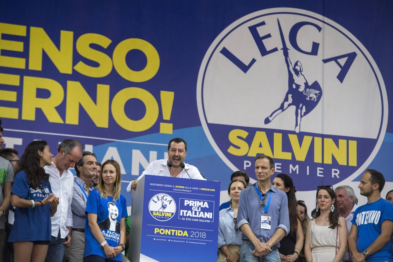 Salvini a Pontida all'inizio del 2019
