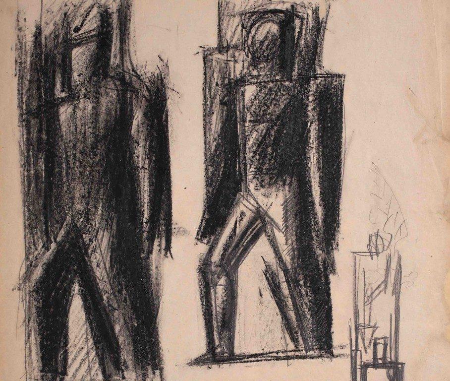 Mario Sironi, Studio  di figure per il balcone del Palazzo dei Giornali di Roma, matita su carta, 1939