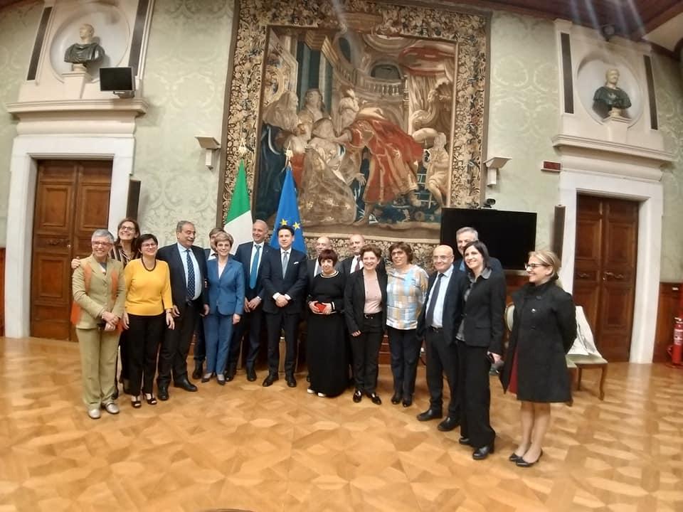 Il premier Conte con i sindacati Flc-Cgil, Cisl e Uil scuola, Gilda e Snals a Palazzo Chigi