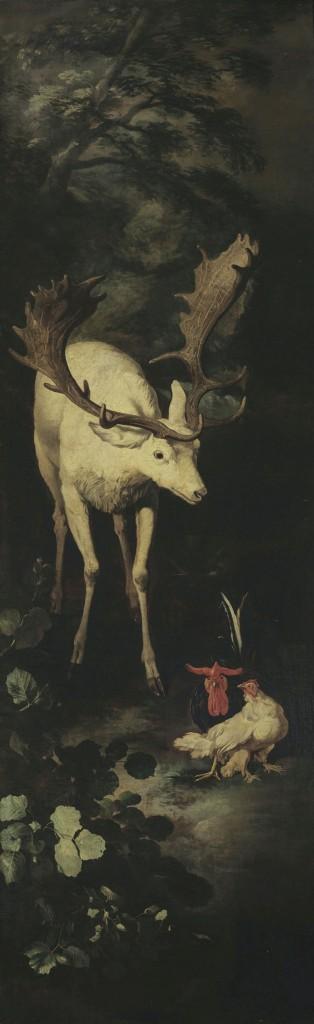 Una «scena» del ciclo animalistico di Pandolfo Reschi e Livio Mehus, conservato a Milano, Palazzo Sormani. All'interno del testo, la sala d'ingresso de