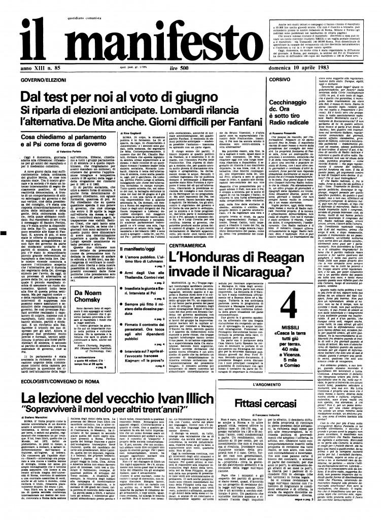 il manifesto del 10 aprile 1983