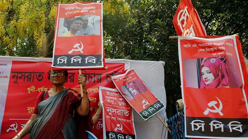 Una protesta per l'uccisione di Nusrat