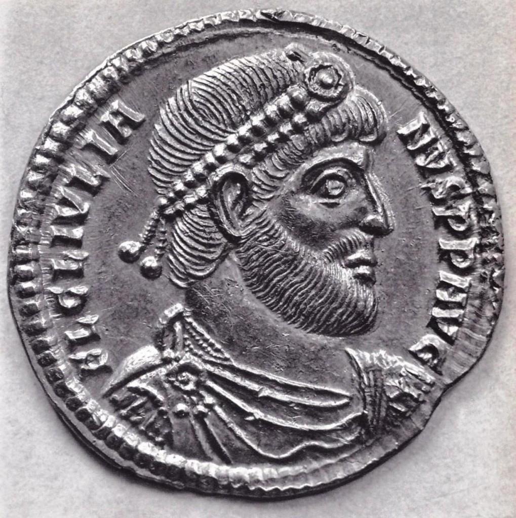 Doppia maiorina di Antiochia, Giuliano imperatore (360-363), busto diademato, drappeggiato e corazzato