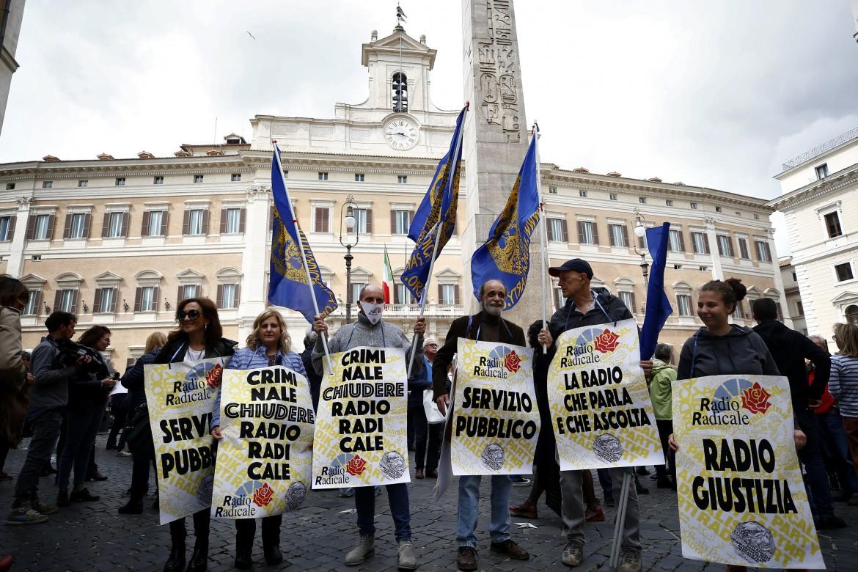 Manifestazione per Radio Radicale in piazza Montecitorio