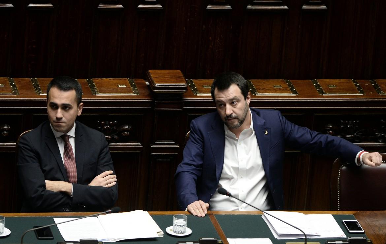 Luigi Di Maio e Matteo Salvini; in basso Giovanni Tria