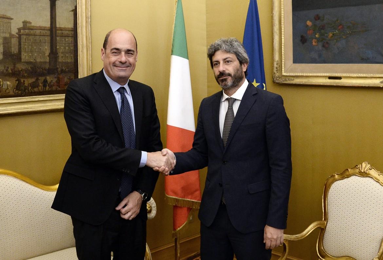 Nicola Zingaretti, segretario Pd, e Roberto Fico, presidente della camera