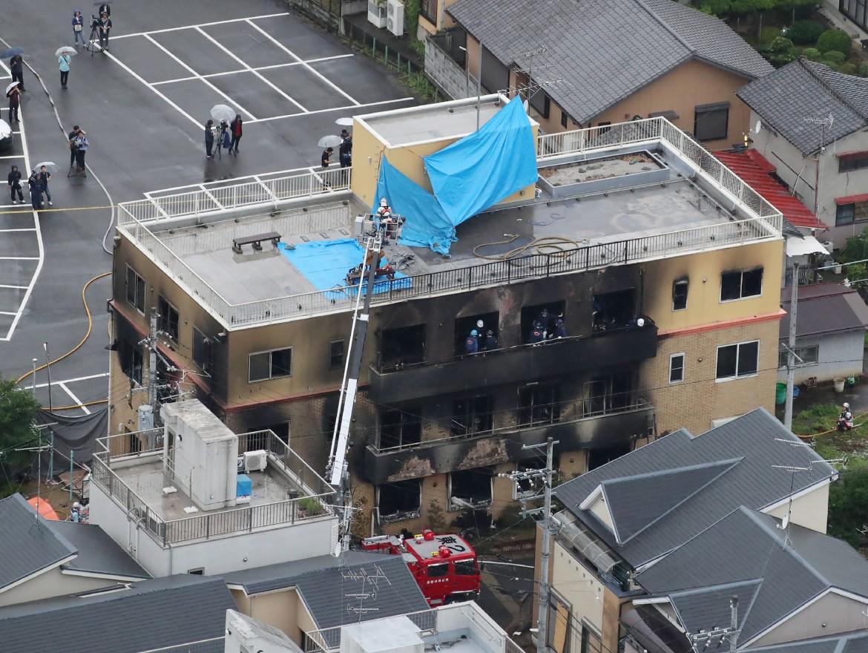 L'edificio sede della Kyoto Animation dopo l'incendio