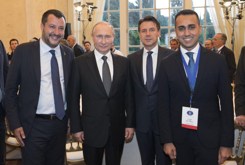 Salvini, Putin, Conte e Di Maio al recente vertice di Roma