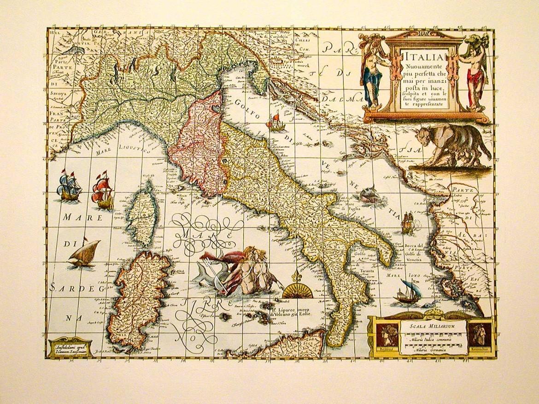 Una cartina dell'Italia del 1631