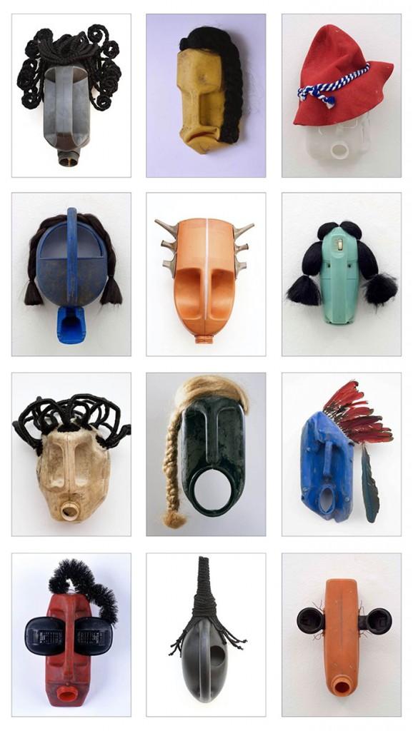 Alcune «maschere» dell'artista del Benin Romuald Hazoumé
