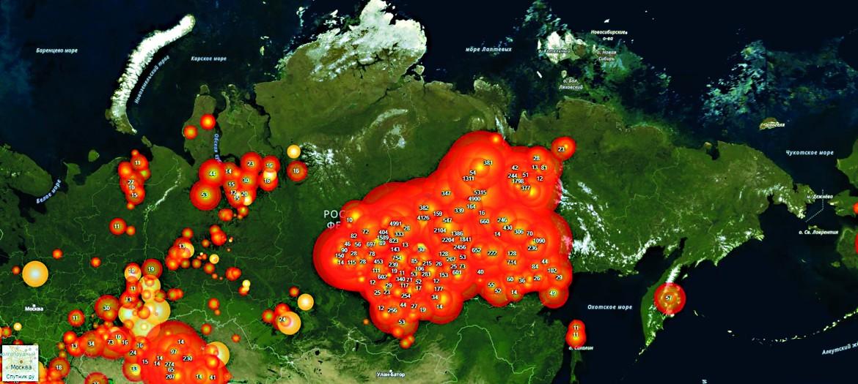 La mappa degli incendi attivi in Russia