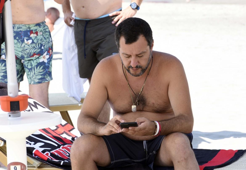 Matteo Salvini in ferie a  Milano Marittima