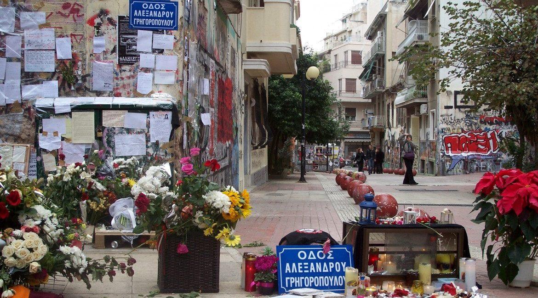 L'incrocio del quartiere di Exarchia dove è stato ucciso Grigoropoulos