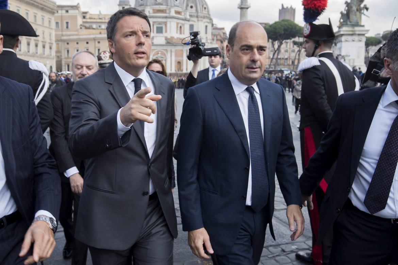 Il segretario Del Pd Nicola Zingaretti e Matteo Renzi