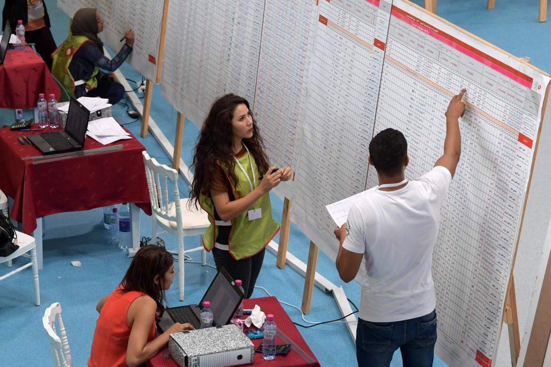 Un seggio elettorale durante il voto del 15 settembre