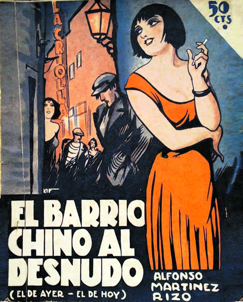 La copertina di «El Barrio chino al desnudo», romanzo di Alfonso Martínez Rizo (1931)