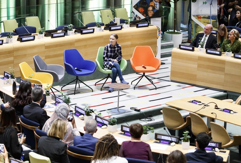 Greta Thunberg ieri al summit sul clima dell'Onu