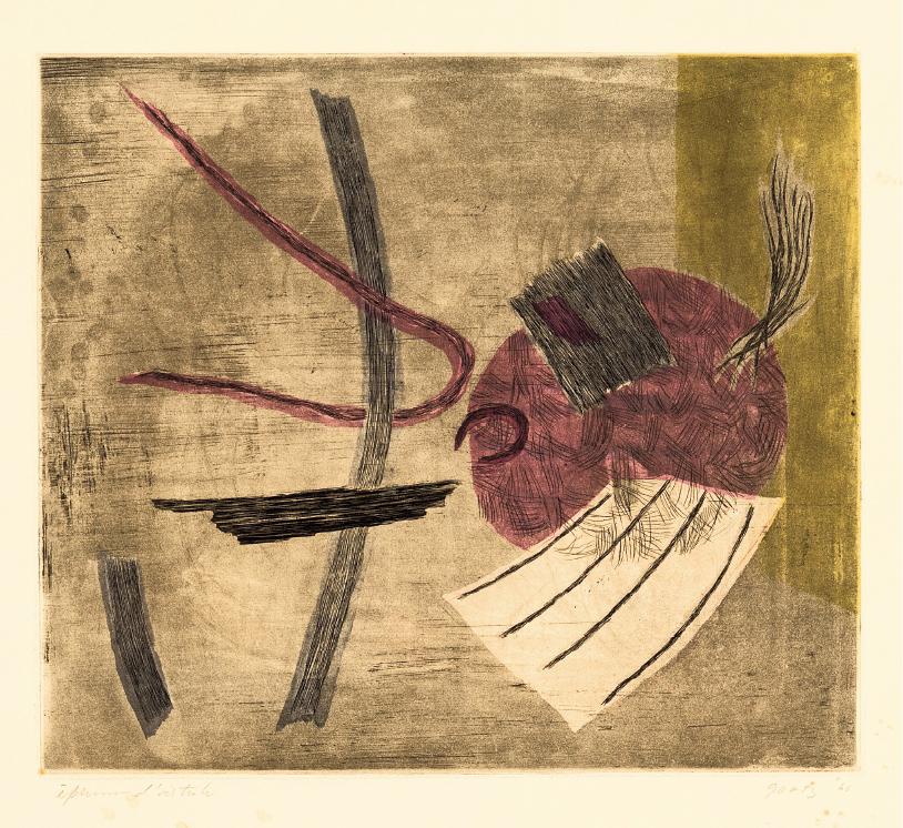 Una delle incisioni di Henri Goetz esposte nella mostra di Moliterno