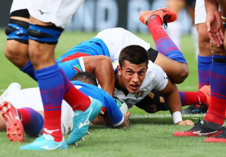 Tommaso Allan durante il match con la Namibia.