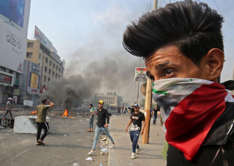 La protesta dei giovani a Baghdad