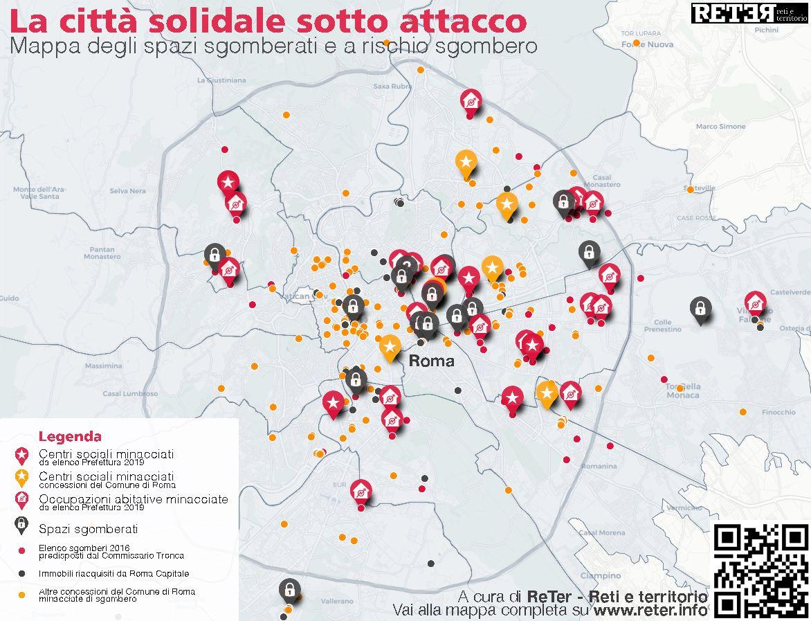 Mappa interattiva (su www.reter.info) degli spazi sociali a rischio sgombero di Roma
