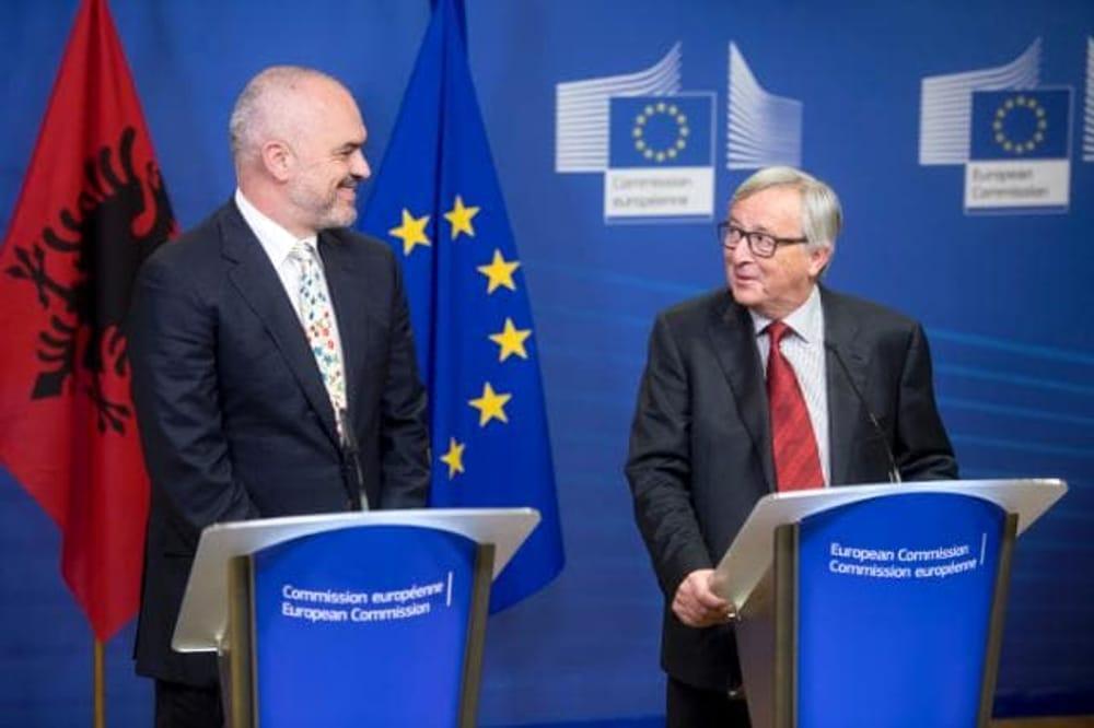 Il premier albanese Edi Rama e Jean-Claude Juncker