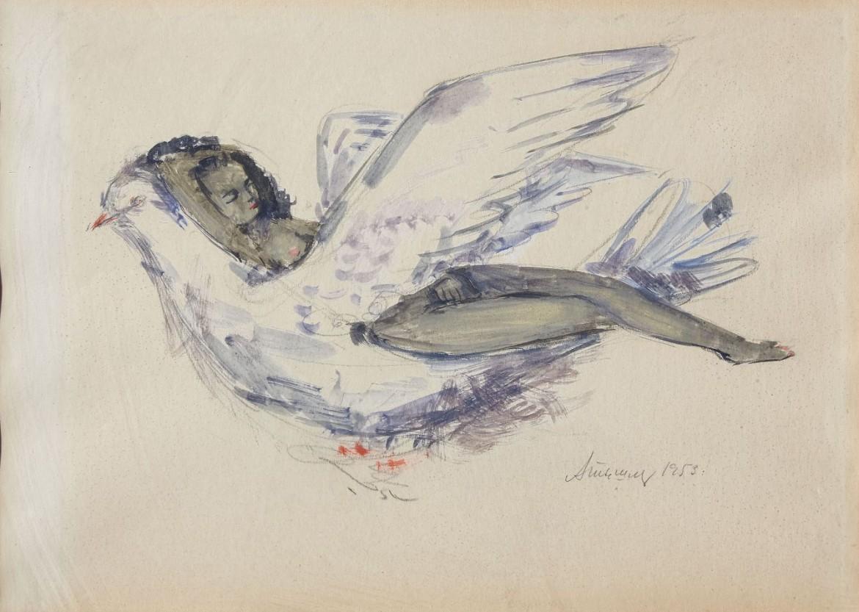 Aleksandr Tyšler, «Ragazza distesa su una colomba» (1953)