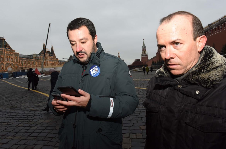 Matteo Salvini e Gianluca Savoini a Mosca