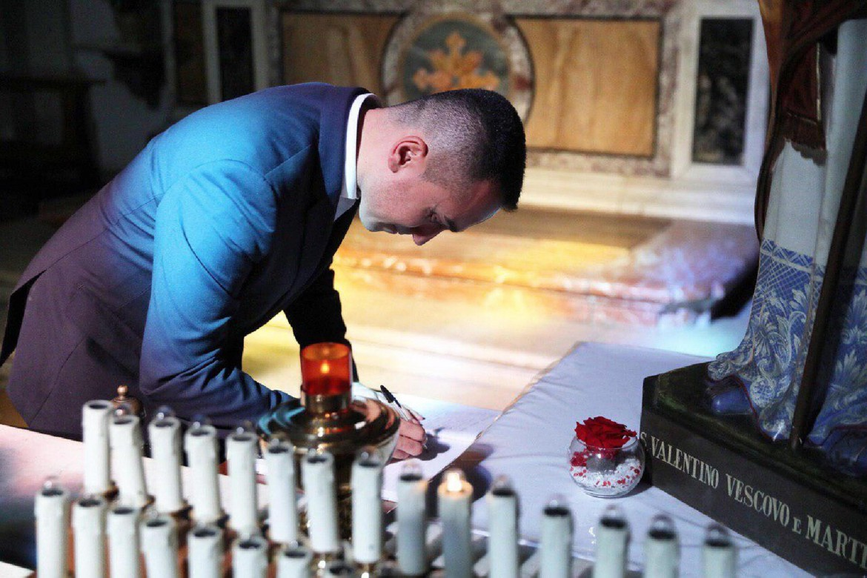 Luigi Di Maio alla basilica di San Valentino di Terni