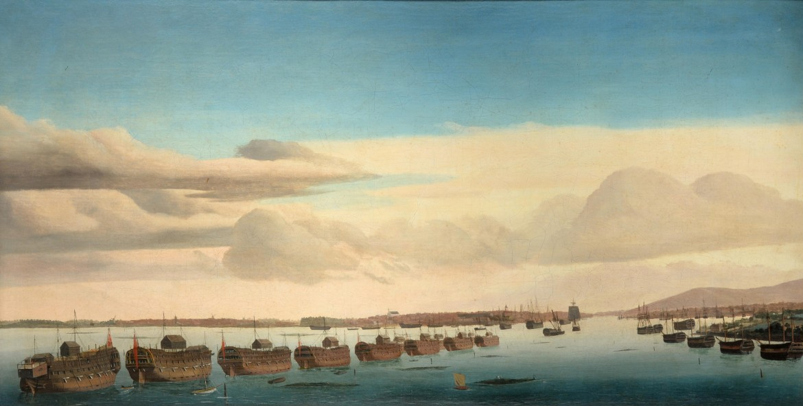 Ambroise Louis Garneray, «A panorama of Portsmouth harbour with the line of prison hulks» (circa 1809-1814)