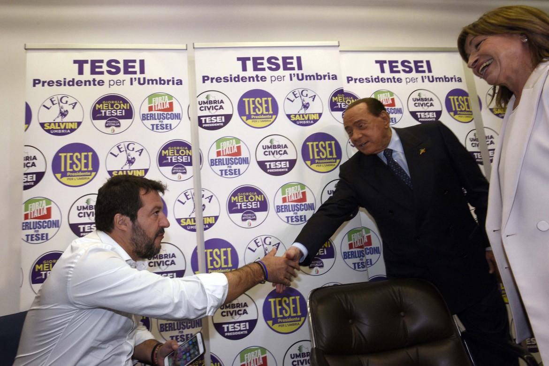 Matteo Salvini, Silvio Berlusconi e Donatella Tesei