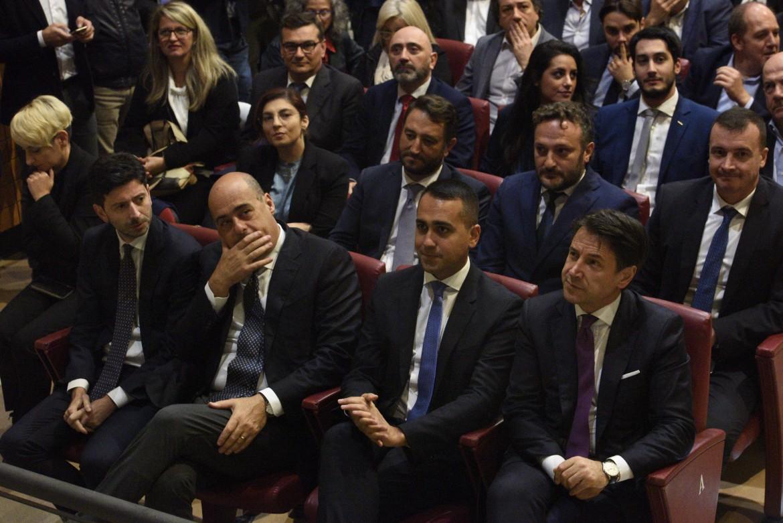 Roberto Speranza, Nicola Zingaretti, Giuseppe Conte e Luigi Di Maio a Narni