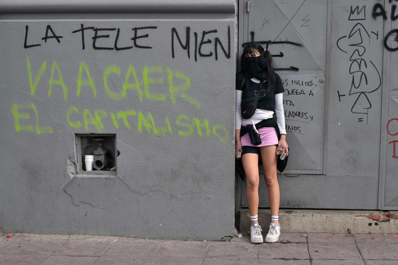 Un momento della protesta a Valparaiso, Cile