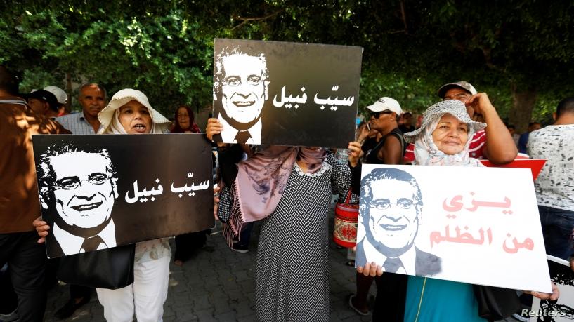 Sostenitori di Nabil Karoui protestano per la sua detenzione