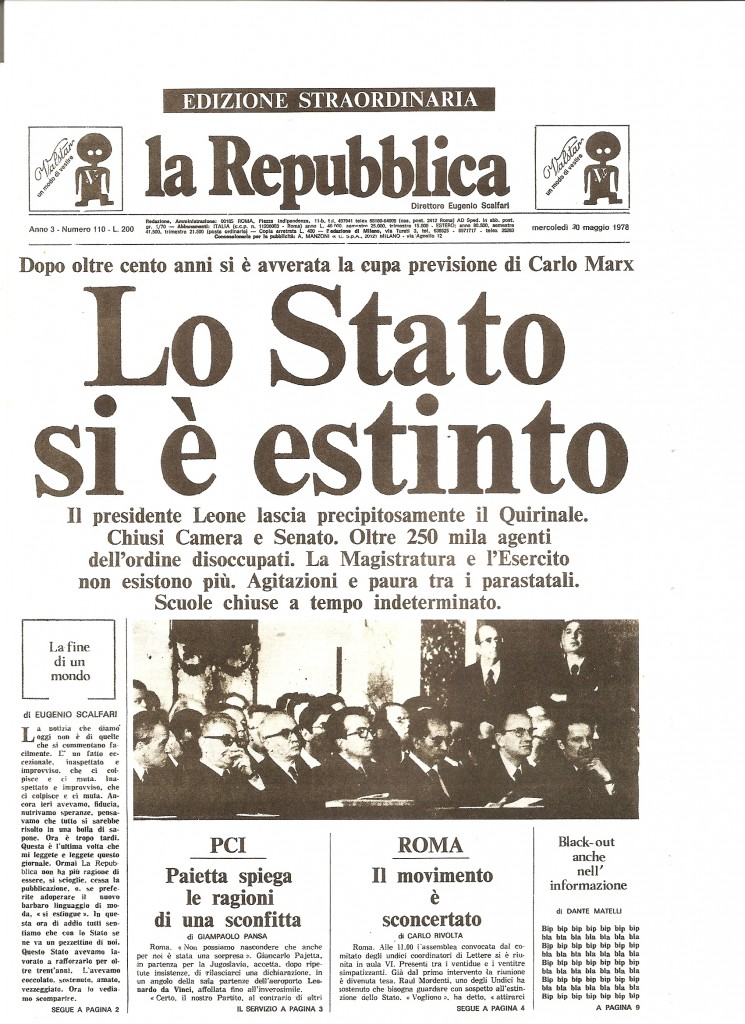 Falsa edizione straordinaria del quotidiano La Repubblica, realizzata dalla redazione del Male