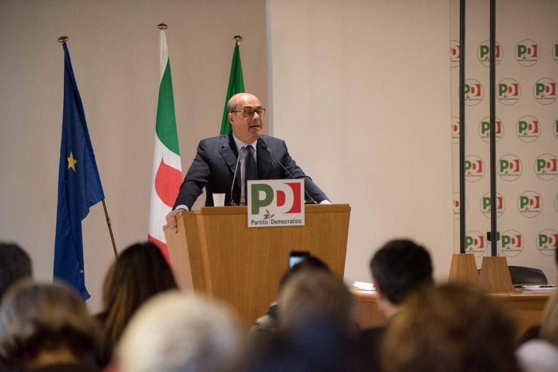 Nicola Zingaretti, segretario Pd, ieri alla riunione della direzione del suo partito