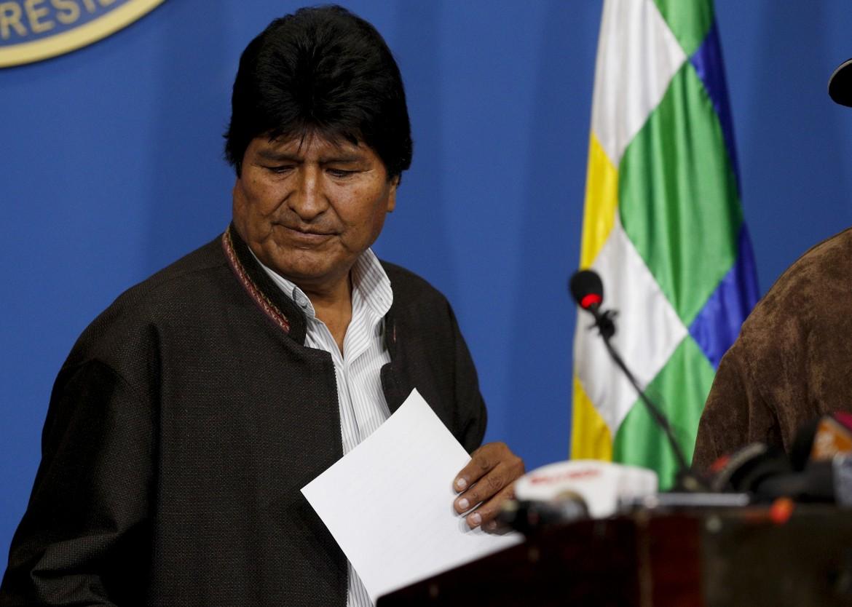 Evo Morales poco prima di annunciare le sue dimissioni