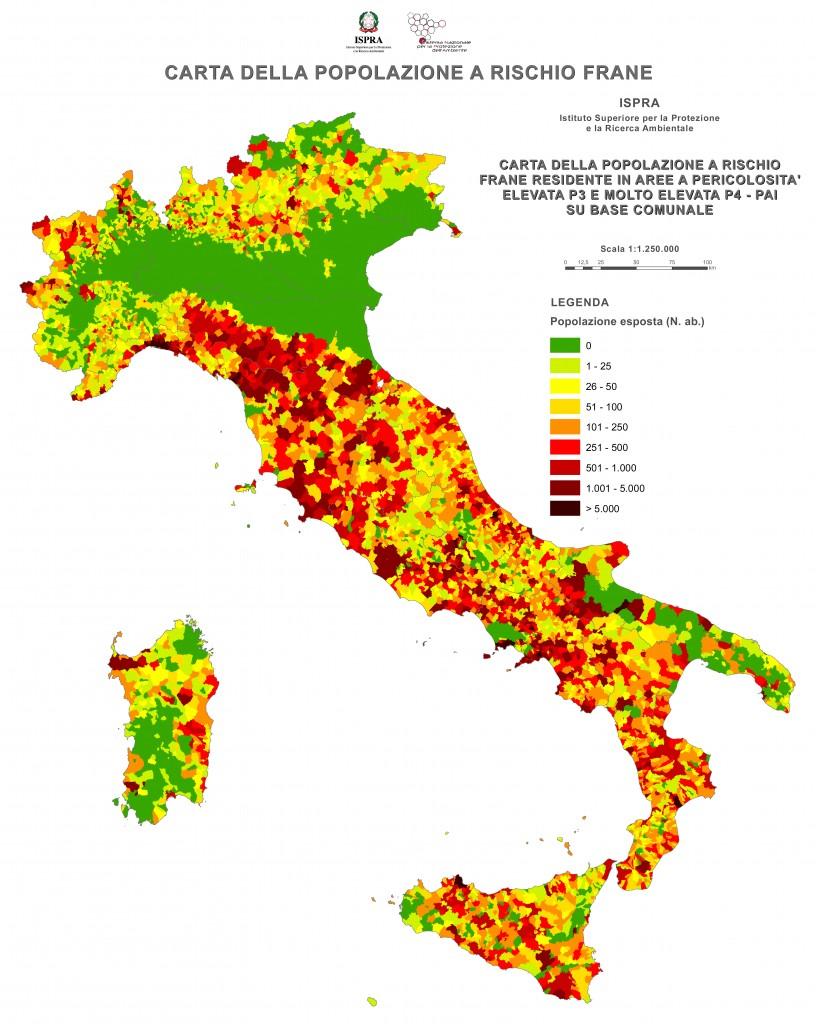 Nella cartina, evidenziata la densità di popolazione che convive con il rischio idrogeologico