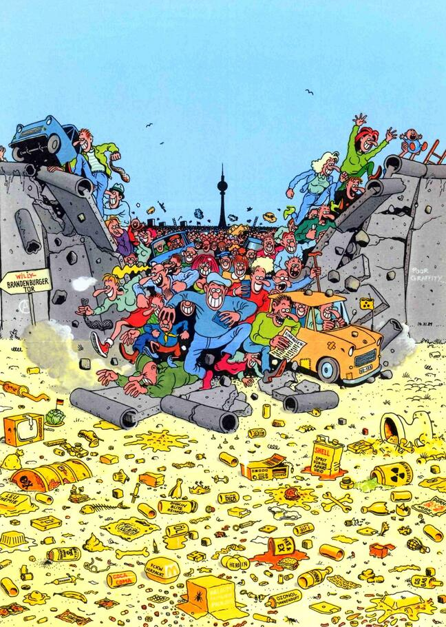 Una tavola del fumettista Gerhard Seyfried tratta dal suo libro  «Flucht aus Berlin»