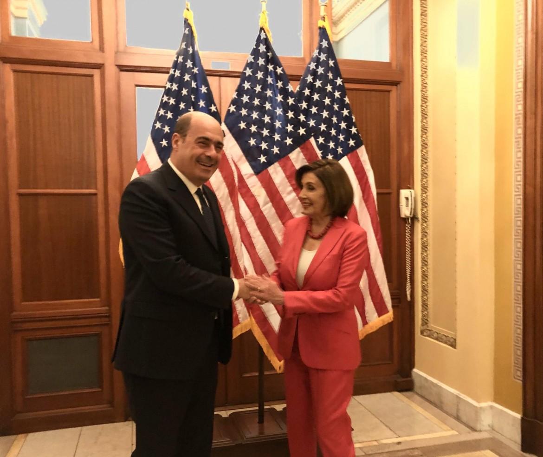 Zingaretti ieri a Washington ricevuto dalla speker della camera Nancy Pelosi