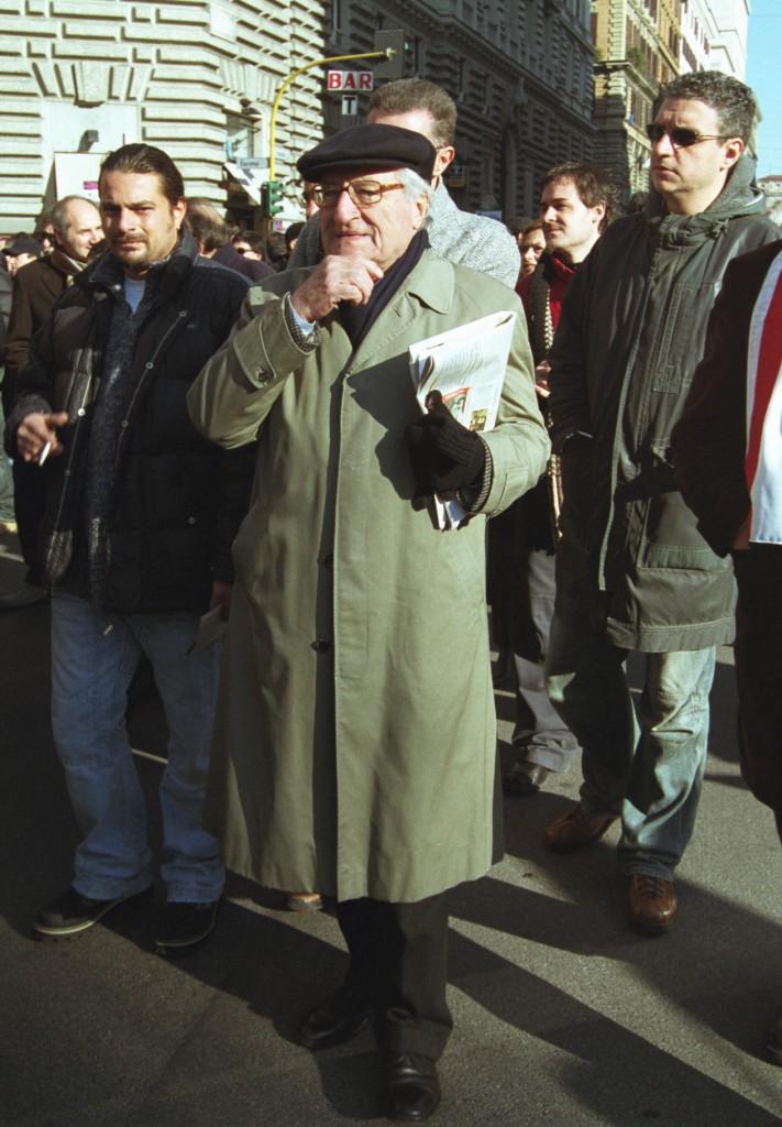 Roma, 2005. Aldo Tortorella alla manifestazione dei metalmeccanici
