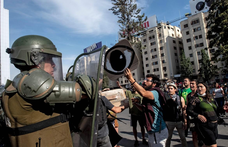 Un momento delle proteste in Cile nel dicembre 2019