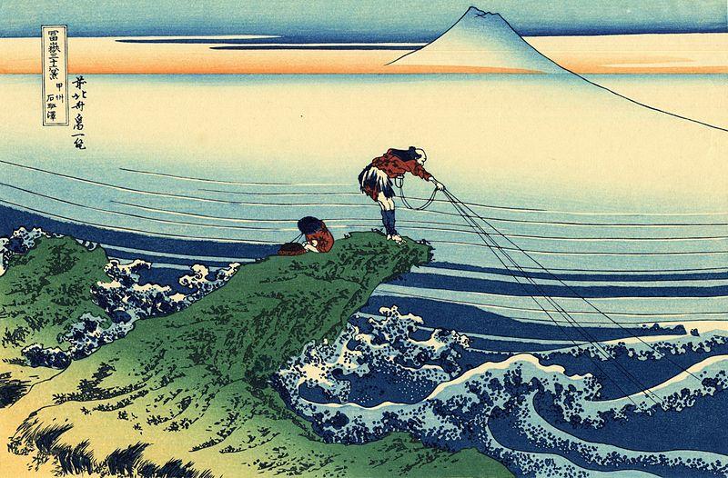 Una delle 36 vedute del monte Fuji di Hokusai