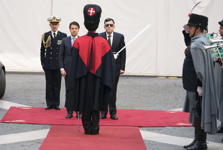 Giuseppe Conte e Fayez al Serraj ieri a Palazzo Chigi
