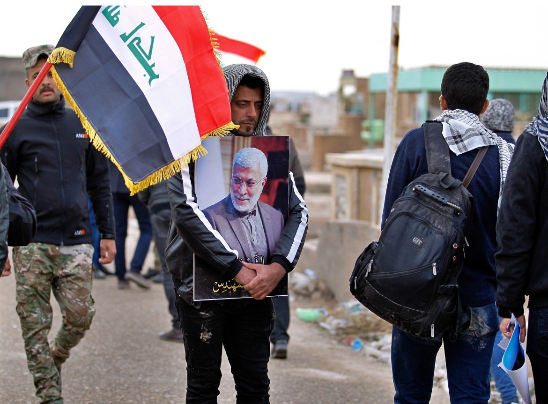 Najaf, Iraq, ai funerali di Abu Mahdi al-Muhandis, capo delle milizie sciite ucciso insieme al generale iraniano Soleimani a Baghdad