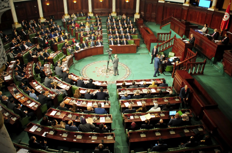 L'aula del parlamento di Tunisi durante il discorso di Habib Jemli