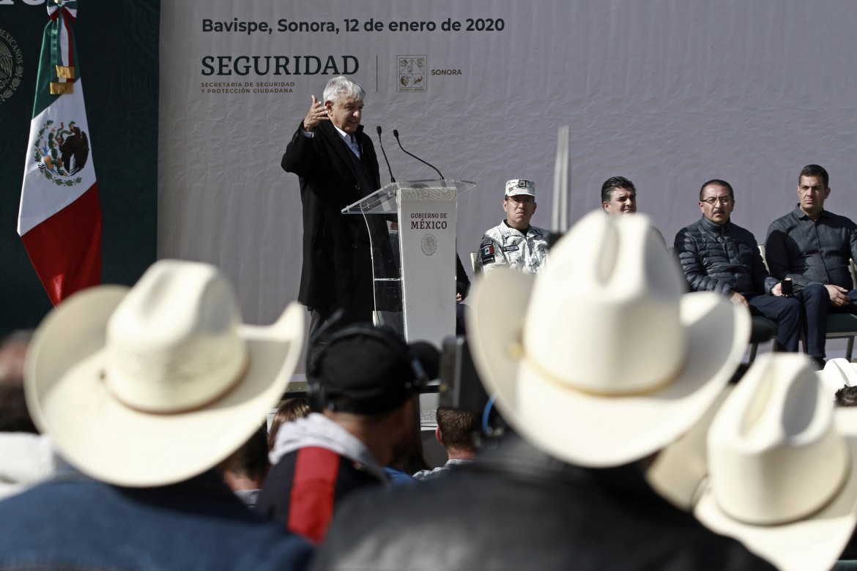 La Mora, 12 gennaio, il presidente messicano Andres Manuel Lopez Obrador parla di