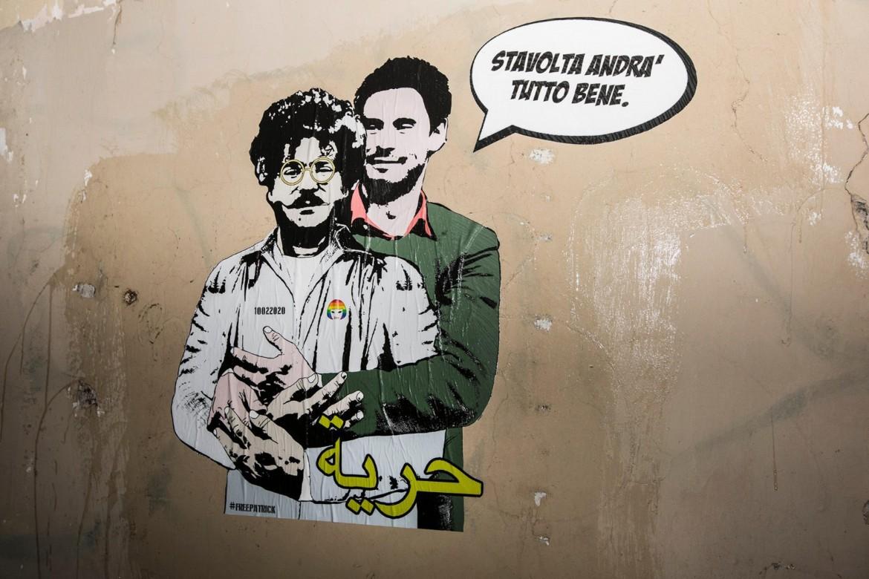 Un murales con Patrick Zaki e Giulio Regeni