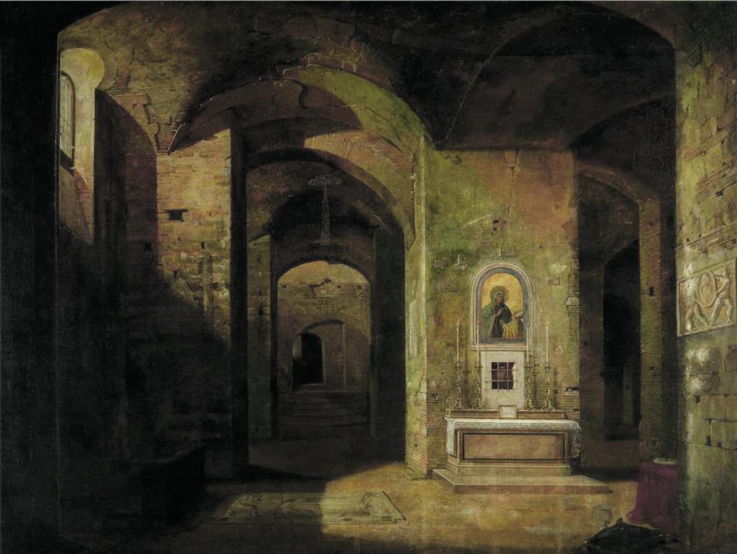 Jodocus Sebastiaen van den Abeele, The crypt of the basilica of San Martino ai Monti in Rome, 1830-'40, Ghent, Museum  of Fine Arts